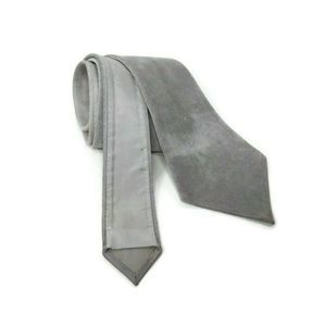 Mens Gray Necktie Suede Leather Tie Made In Italy